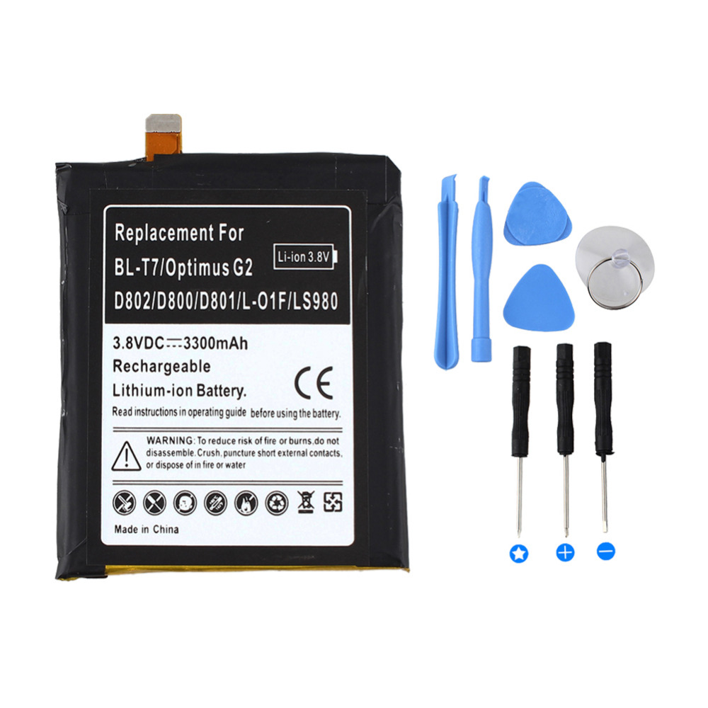 High Capacity for Optimus <font><b>BL</b></font>-<font><b>T7</b></font> 3300mAH Replacement Li-ion Battery For <font><b>LG</b></font> Optimus G2 D802 D800 D801 L-01F LS980 Battery+ tools image