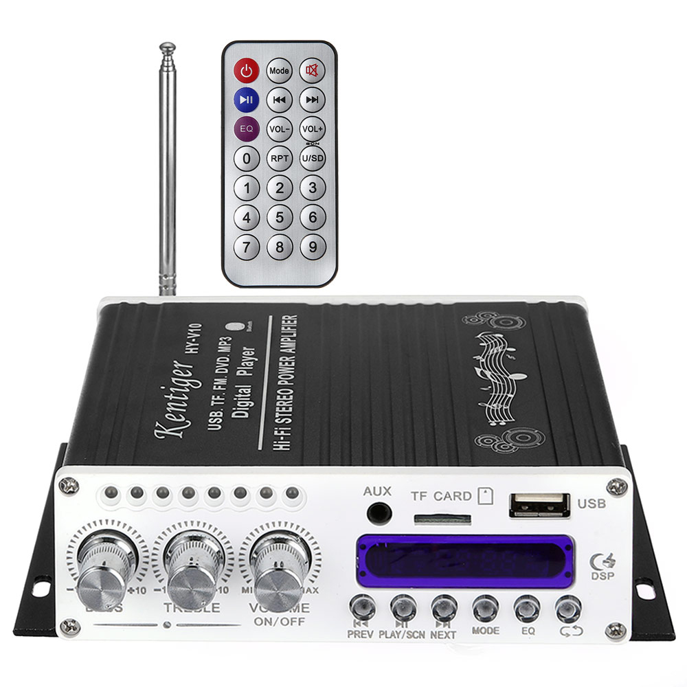 Kentiger V10 Bluetooth Hi-Fi Wireless Audio Amplifier Class-AB Stereo Super Bass Digital Display FM Car Amplifiers AUX input