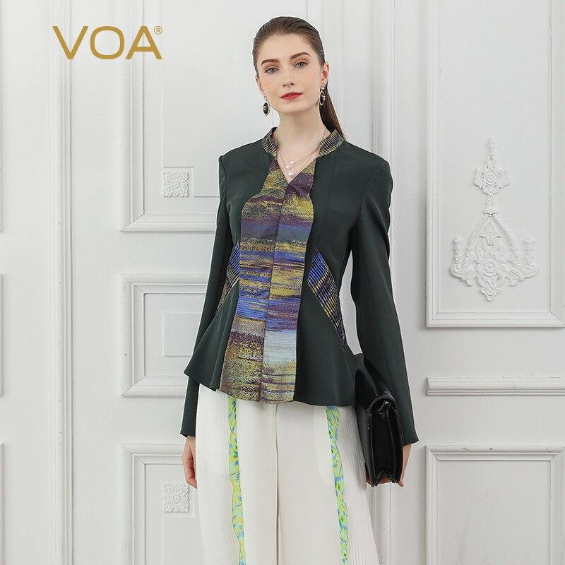 VOA тяжелый шелк Футболка женские офисные Топы Для женщин футболка осень с длинным рукавом Армейский зеленый Прохладный тонкий большой Разм