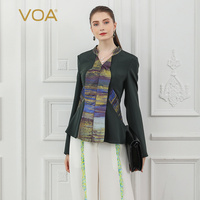 VOA Heavy Silk T Shirt Office Ladies Tops Women Tee Fall Long Sleeve Army Green Cool Slim Large Size Vintage Elegant V Neck B829