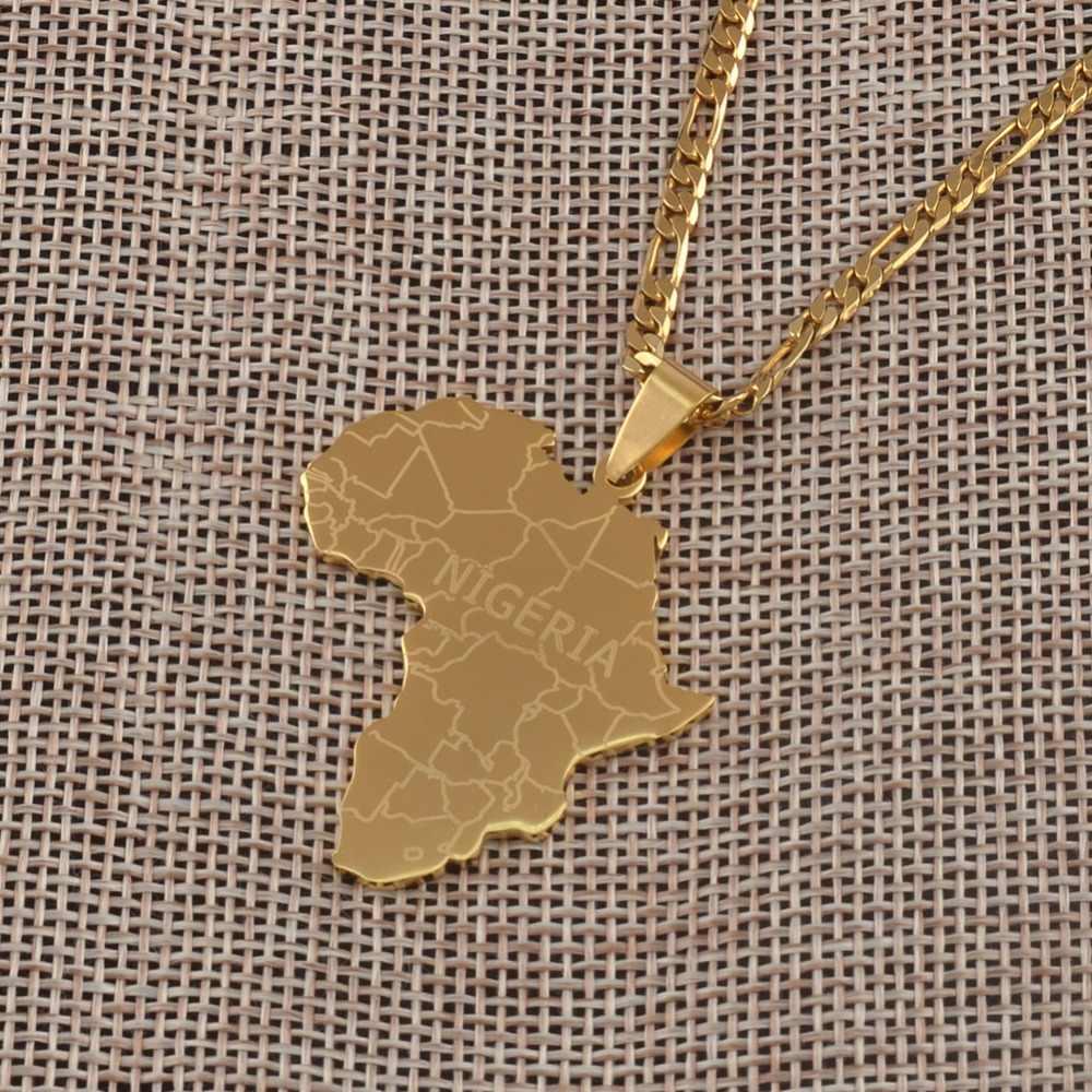 Anniyo afryka mapa z nigerią wisiorek naszyjniki złoty kolor biżuteria dla kobiet mężczyzn afryki i aktualną pogodę lub przeczytaj ostatnie biżuteria prezenty #042321