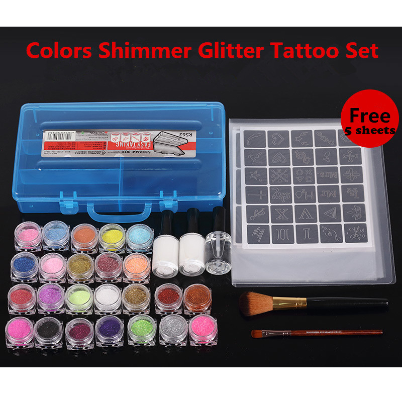 24 Colors Shimmer Glitter Tattoo Set/ 360 Stencils 2 Glue & Brushes for Fashionable body painting Temporary tattoo Paint Design