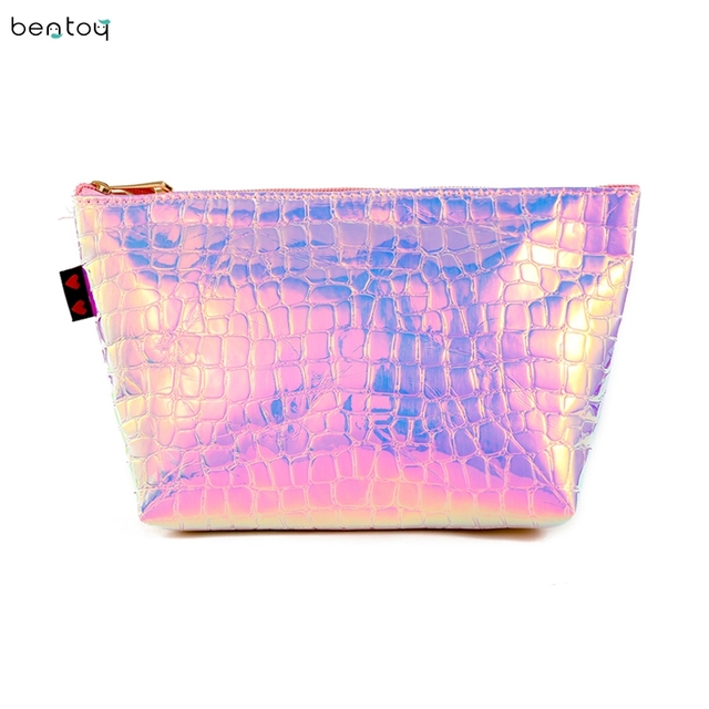 f9408fa2e6b0 US $3.82 20% OFF|Large Capacity Portable Women Makeup Bag Organizer Laser  PU Ladies Travel Cosmetic Case Summer Hologram Toiletry Storage Bag-in ...