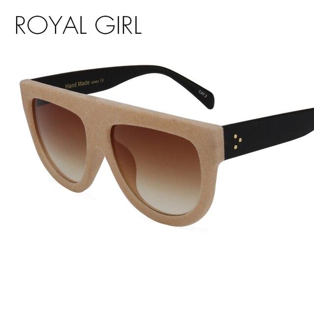 00442fee886 ROYAL GIRL Fashion Oversized Sunglasses Women Brand Designer Luxury  Gradient Plush Border Velvet Ladies Retro Vintage ss214