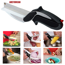 NEW Kitchen Smart Cutter 2 IN 1 Kitchen Knife & Cutting Board Scissors Kitchen Food Cheese Meat Vegetable Stainless Steel