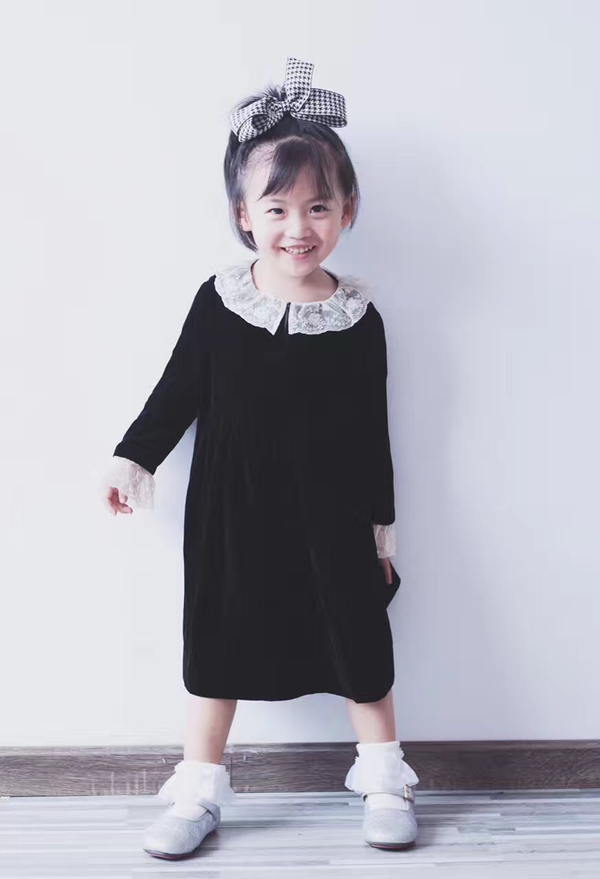2017 Baby Dress Solid Lace Long Sleeve Woolen Cotton Peter Pan Collar European And American A-Line Toddler Girl Dresses kid girl lace collar long sleeve pullover cotton base shirt top toddler 2 7y m78 new