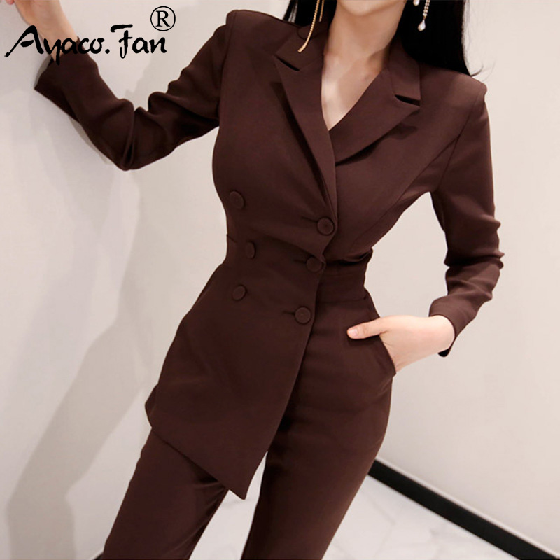Women Fashion   Jumpsuit   Formal Long Sleeve Doubled Breasted Top Skinny Pockets Pant 2019 New Spring Lady Bodycon Blazers Suits