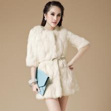 2016 rex rabbit hair fur coat female long-sleeve o-neck slim three quarter sleeve 20% off