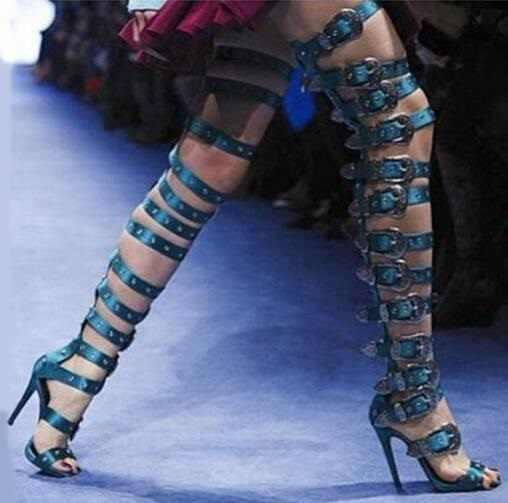 2018 сандалии, женские сапоги на каблуке, с ремешками, с пряжкой, Сапоги выше колена, сексуальные, вечерние с открытым носком, с вырезами, крутые, вечерние женские сапоги