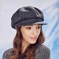2016 Lanas de La Manera de La Vendimia de Las Mujeres Chapeu Feminino Laday chica Virsor sombrero del vendedor de Periódicos Casquillo Del Pintor Tapa Octogonal Sombrero de La Boina 10