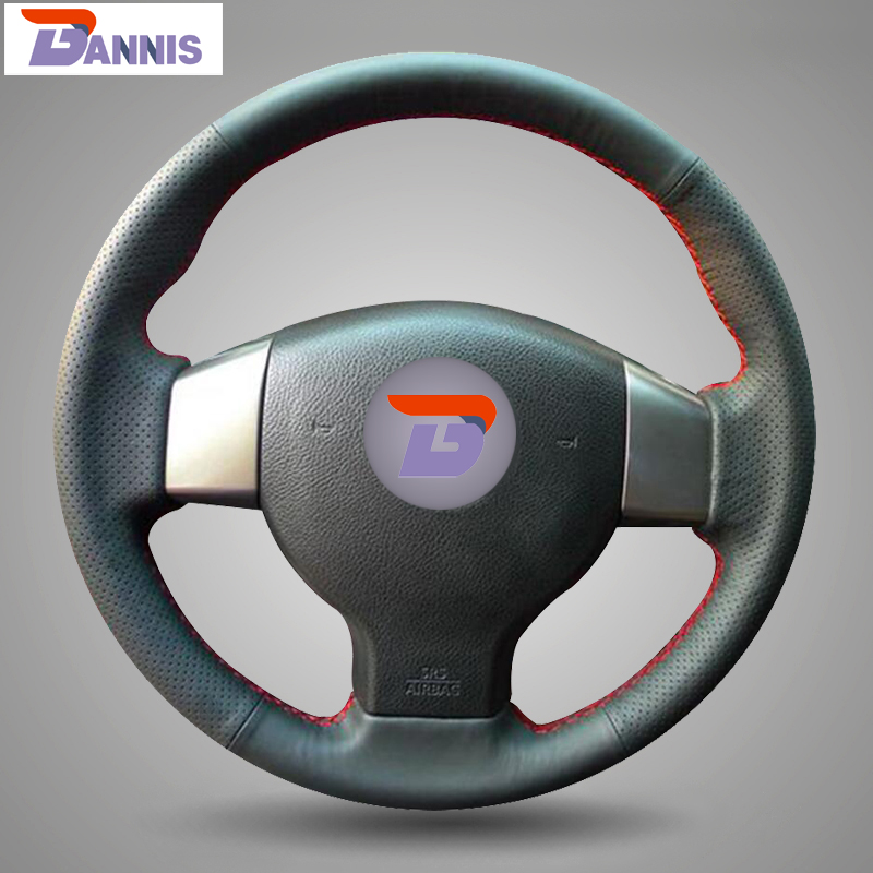 BANNIS Black Artificial Leather DIY Hand-stitched Steering Wheel Cover for Old Nissan Tiida Livina Sylphy Note