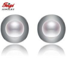 New arrival Pearl Stud Earrings, 7-8mm White Natural Freshwater Pearls,100% 925 Sterling Silver Earrings For Women's daimi 7 8mm river pearl earrings natural white freshwater pearl earrings 925 sterling silver earrings for women christmas gifts