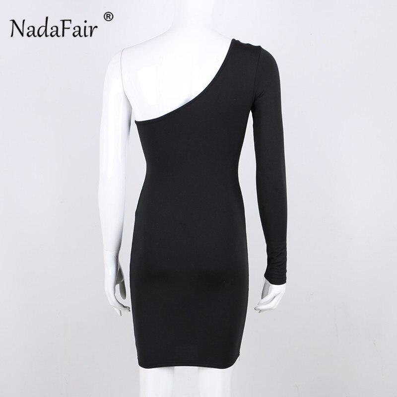 620d9f799616 Nadafair alta cintura Sexy Fiesta Club Vestido Mujer ahuecado manga larga  Bodycon vestidos blanco rojo otoño un hombro Mini vestido