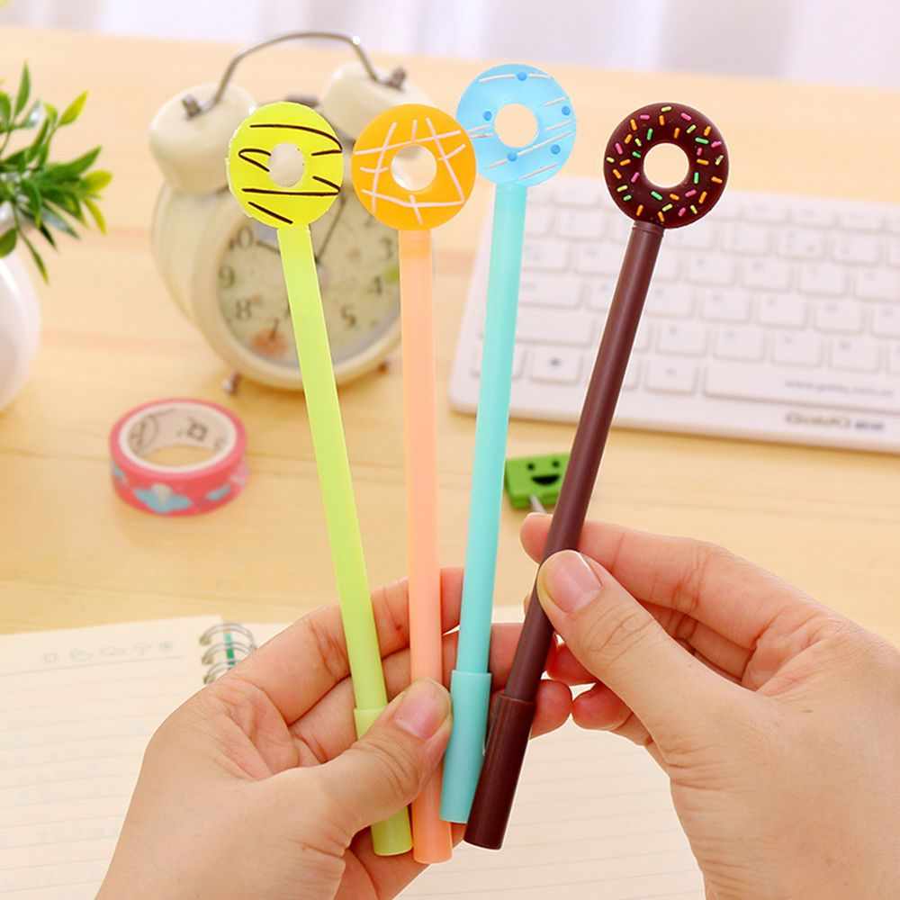 1pcs Korean Kawii Cute Lollipop Donuts Gel Pen 0.38mm Black Ink Pen Students Stationary Office School Suppliers Free Shipping