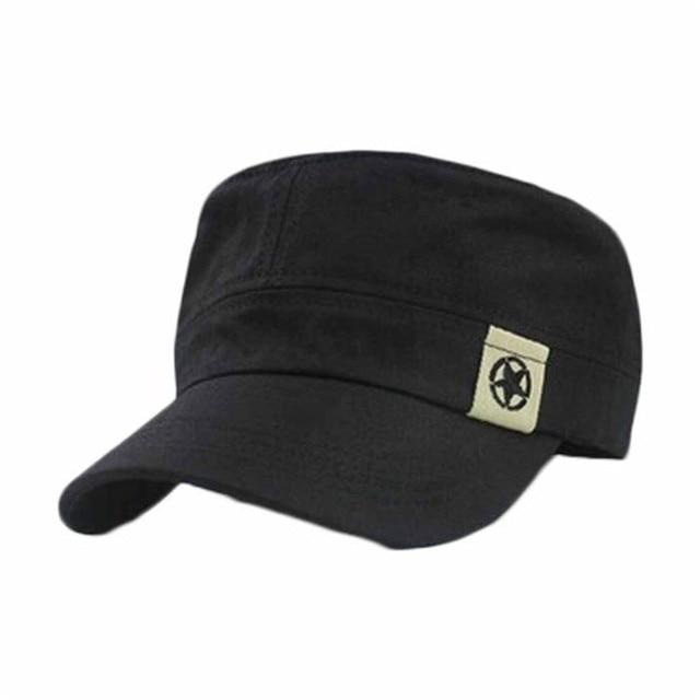 024159aa75976 Adjustable Men Women Unisex Flat Roof Military Hat Cadet Patrol Bush  Baseball Field Cap Army hat travel sun cap