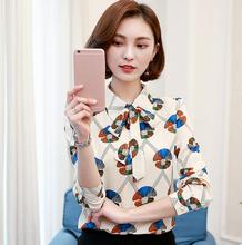 OL Office Work Wear Chiffon Blouses Ladies Casual Slim Print Bow Tie Long Sleeve Shirt Women Tops Plus Size Fashion Femme Blusa