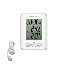 Baldr Digital Thermometer Clock Indoor Temperature Meter Outdoor Wired Probe Sensor Watch LCD Alarm Snooze Clock Weather Station