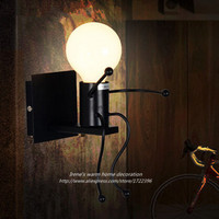 Black Iron Modern LED Wall Lights For Home Novelty Creative Child Wall Lamps For Bedroom Living Room Sconce Wandlamp