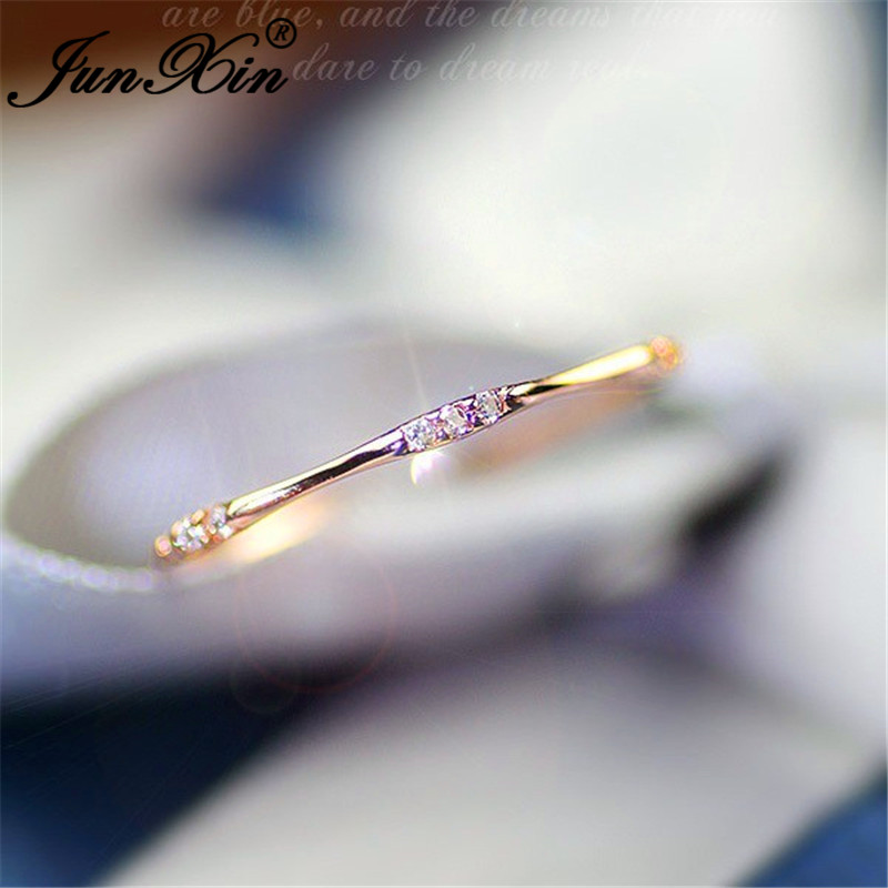 JUNXIN Stackable Eternity Rings For Women White Gold Rose Gold Filled Small Zircon White Crystal Minimalist Thin Ring Female CZ