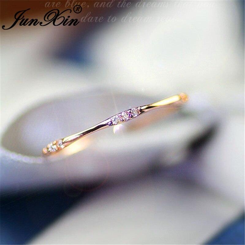 JUNXIN anneaux éternité empilables pour les femmes 925 argent Rose or rempli petit Zircon blanc cristal minimaliste mince anneau femelle CZ