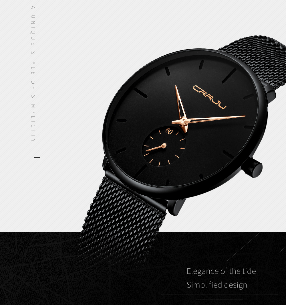 Crrju Watch Women And Men Watch Top Brand Luxury Famous Dress Fashion Watches Unisex Ultra Thin Wristwatch Relojes Para Hombre 4
