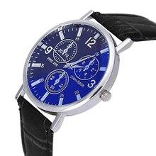 9s & cheap Mens Luxury Crocodile Faux Leather Analog Blu-Ray Business Wrist Watch high quality watch 0717