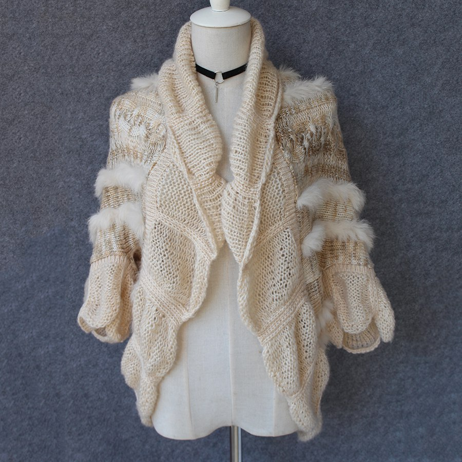 beige color female shawls with real rabbit fur short sleeve fashion spring cardigan ladies elegant turn collar autumn outwears
