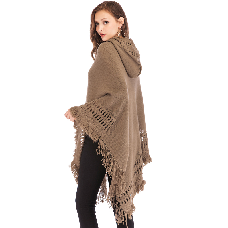 FLORATA Casual Women Sweater Hooded Poncho And Cape Knitted Sweaters Tassel Pullover Solid Sweater Female Poncho And Capes Coat