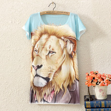 Cool lion printing pattern women Casual T shirt new fashion 2017 summer loose short sleeve t