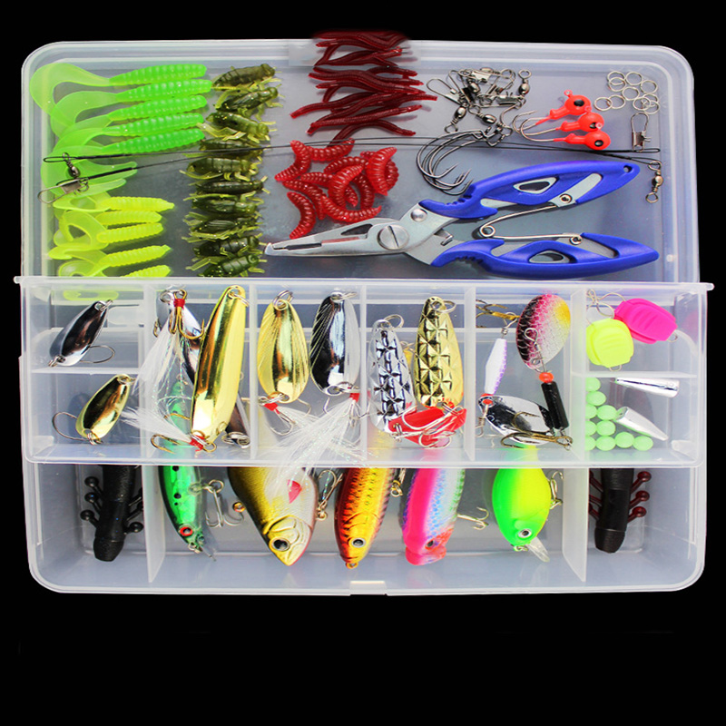 101pcs 400g Fishing Lure Kit Minnow floating Lure Isca Crankbait Bait Pesca Jig Fishing Hook Set With Fishing Tackle Box seanlure 101 pcs lure kit free tackle box soft lure glow minnow fly fishing frog grub hook connector clip jig head craw leader