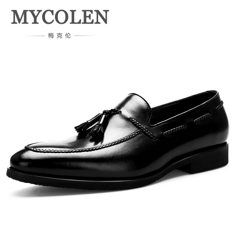 MYCOLEN New Brand Fashion Men Casual Leather Tassel Shoes Soft Artificial Leather Breathable Men's Shoes Scarpe Uomo Di Marca mycolen brand chelsea men boots genuine leather handsome retro boots men high top business leather shoes scarpe uomo di marca