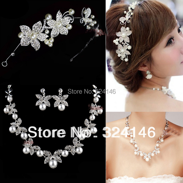 New fashion Elegant Ivory Pearl Bridal Jewelry Sets Clear Crystal Necklace Sets for Bride Wedding choker necklace Accessories