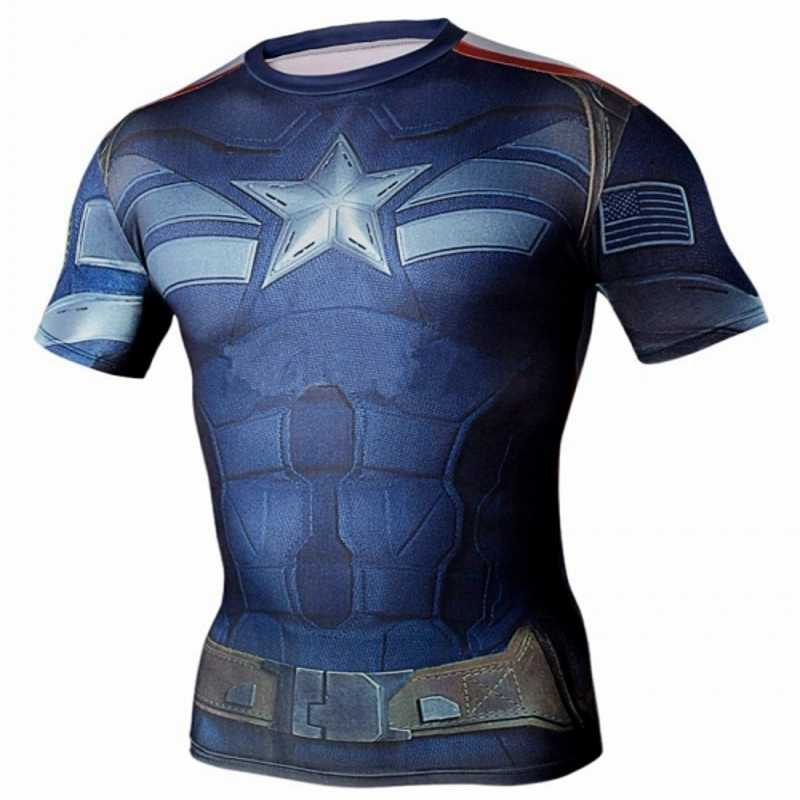 be364137 NEW Marvel Captain America 2 Super Hero compression tights T shirt Men  fitness clothing short sleeve