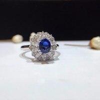 18K White Gold Sapphire 0.768ct Women Ring 0.494ct Diamond Encrusted Handmade Jewerly for Wedding Engagement sapphire jewelry