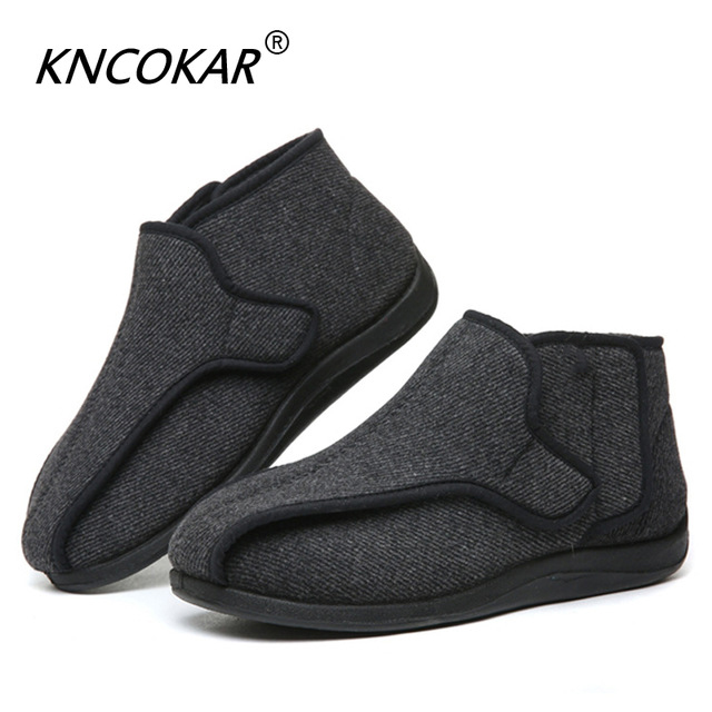 KNCOKAR Widen The New Wool Shoes Fat Swelling Deformation Of Hallux Valgus Foot Wide Elderly Diabetes Shoes Large Size 41-48