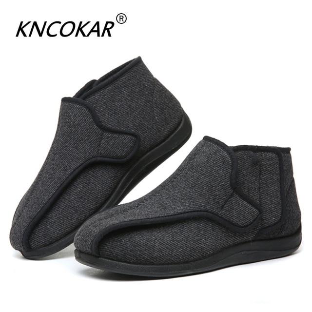 KNCOKAR/новая шерстяная обувь, увеличивающая рост, деформация жирного отека, стопа с вальгусной деформацией, широкая обувь для диабета для пожи...