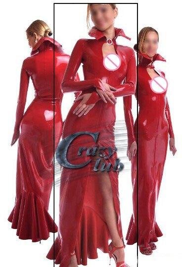 Crazy club_Long robes femmes Sexy manches longues latex robes rouge fétiche caoutchouc robes maxi robe de célibat robes vente en ligne
