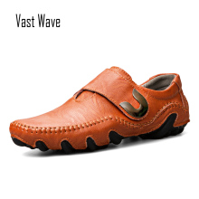 VASTWAVE New Flat Shoes Mens Men Driving Handmade Genuine Leather Casual Fashion Designer