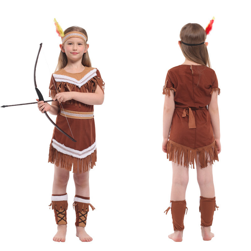 Halloween Kids Party Stage Pretty Indian Princess Performance Costume Girls Bueaty Princess Pocahontas Indian Cosplay Costume