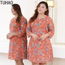 TUHAO  Runway Hollow Out Women Dress Plus Size 10XL 9XL 8XL Elegant Party Dresses Orange Print Dress Vintage Office Vestido
