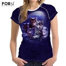 FORUDESIGNS Luna Wolf verano Mujer T camisas deportivos de manga corta Tops  Tees Harajuku chicas Punk O cuello Fitness camisetas 1c5d6da3ba39d