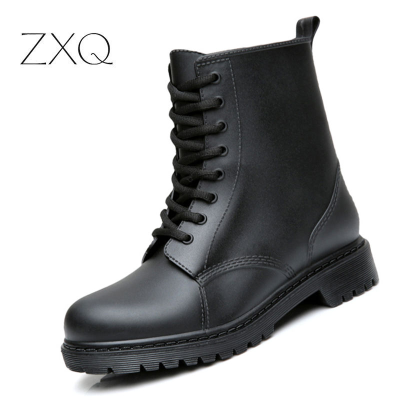 New Autumn Men Rain Boots Fashion Casual Lace Up Waterproof Ankle Boots moccasins zapatos masculino
