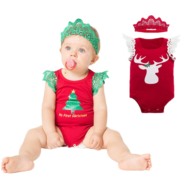 b07c1de9c Christmas Baby Clothing Santa Romper+Crown Toddler Girl Xmas Costumes 2pcs  Set Elk Festival Infant