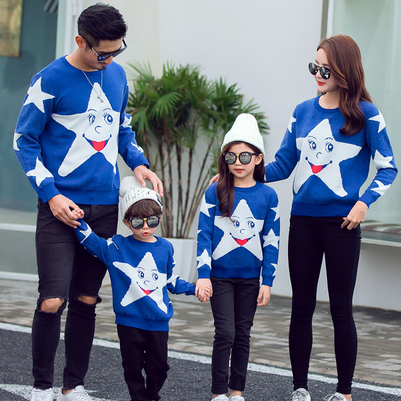 Family Clothing Shirt Sweaters Family Matching Outfits Stars Pattern Mother Daughter Clothes Warm Soft Couple Matching Clothing