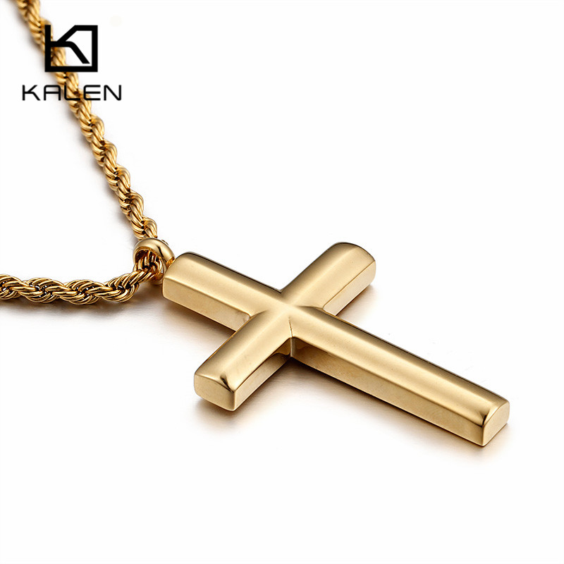Kalen New Fashion Cross Necklace For Men High Polished 50cm Stainless Steel Gold Color Cross Pendant Necklace Male Cheap Jewelry цена
