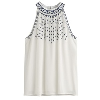Women Boho Fashion White Summer Casual Embroidered Sleeveless Halter Cropped Feminino Tank Tops