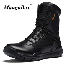 Handmade Men Military Boots Genuine Leather Casual Male Shoes Black Combat Fashion High Ankle Tactical
