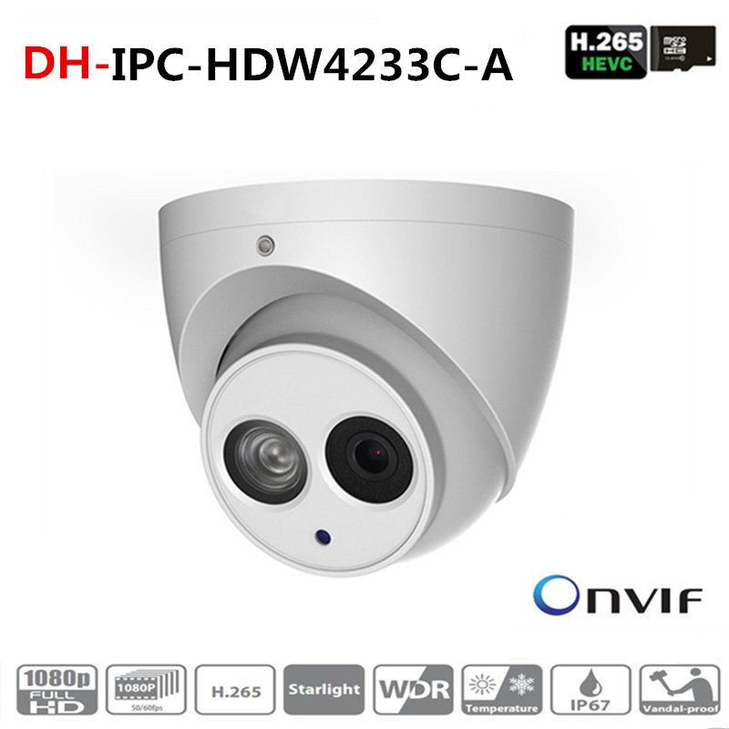 ahua Wholesale IPC-HDW4233C-A 2MP Dome Network IP Camera Built-in Mic Small IR HD WDR POE H.265/H.264 IPC-HDW4233C-A цена 2017
