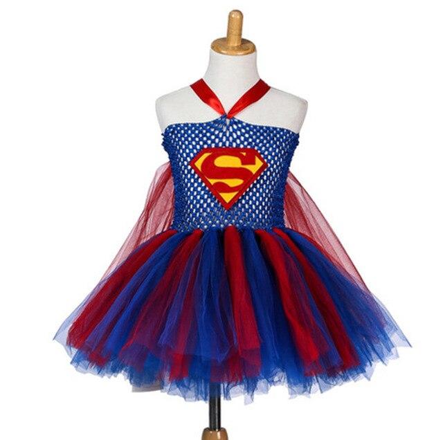 Мода дети дизайнер ручной крючком девушка платье партии дети супергерл костюм дети