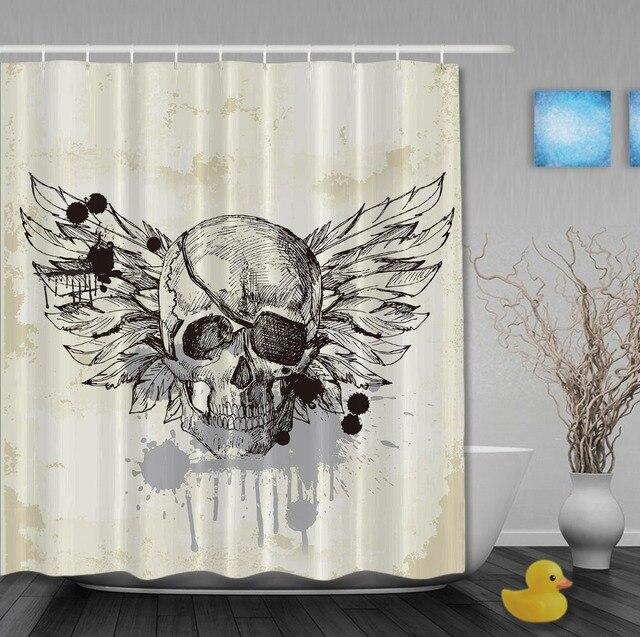 zwart wit vintage piraat schedel minimalistisch design stijl custom douchegordijnen waterdicht met haken badkamer gordijn